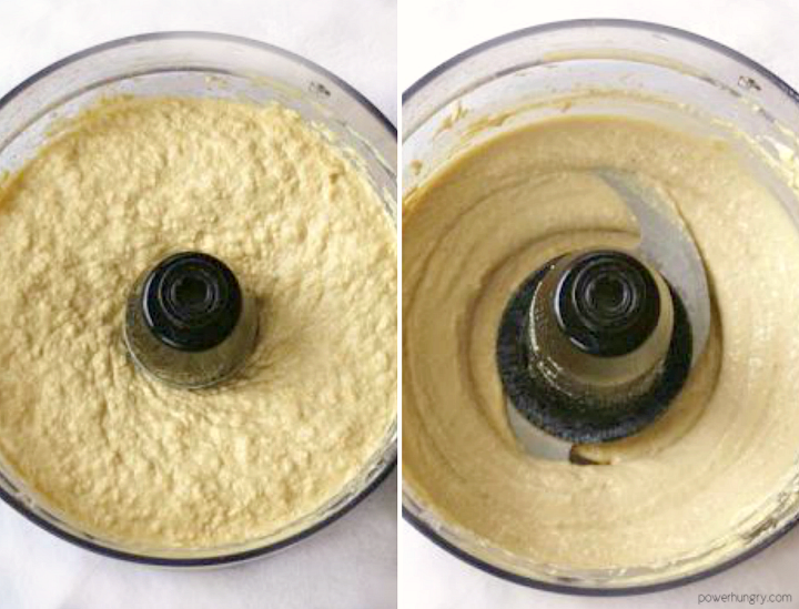 collage of hummus being made in a food processor
