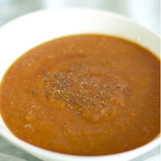 Red Lentil & Tomato Soup {Vegan, 3 Ingredients}