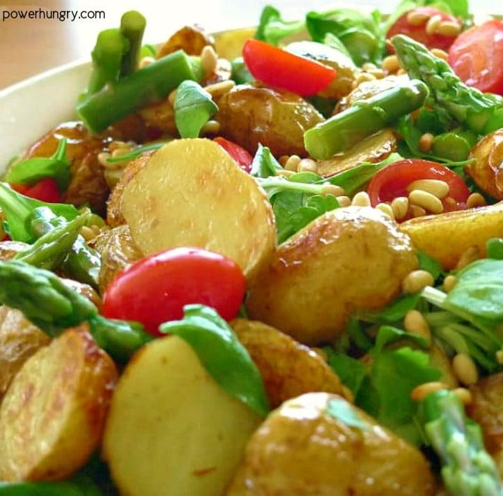 close up of roasted potato asparagus salad