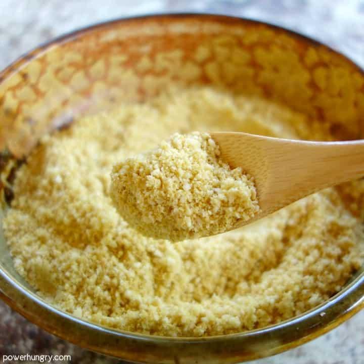 Up close spoonful of DIY vegan Parmesan cheese