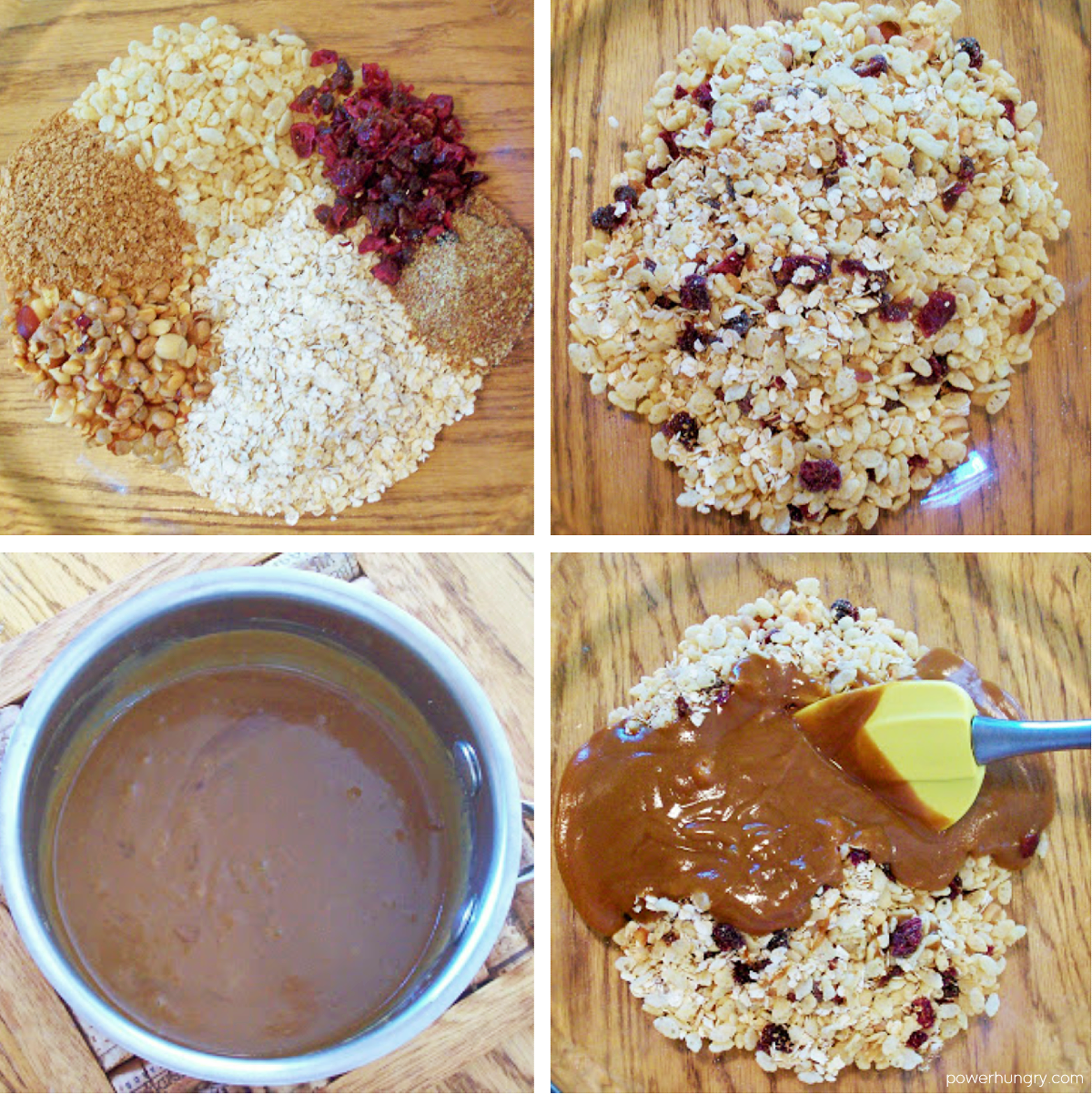 steps for mixing the ingredients for homemade clif bars