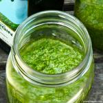 easy vegan pesto in a glass jar