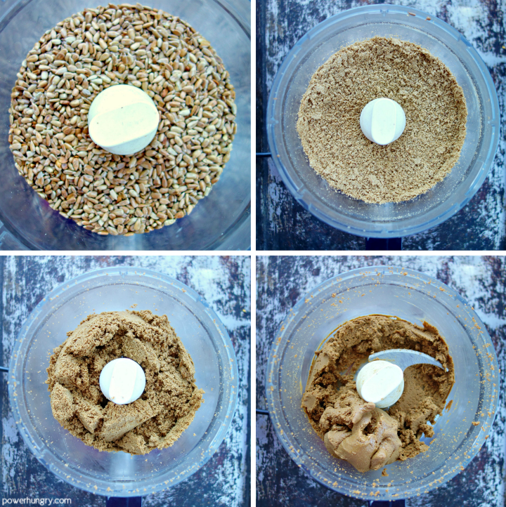 collage of 4 photos showing the step by step process for making sunflower butter