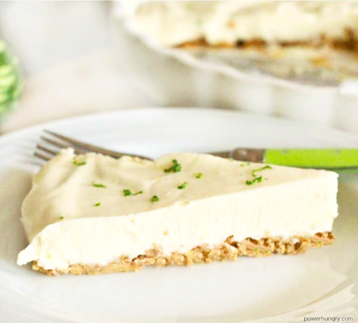 No-bake vegan cashew cream lime pie slice on a white plate
