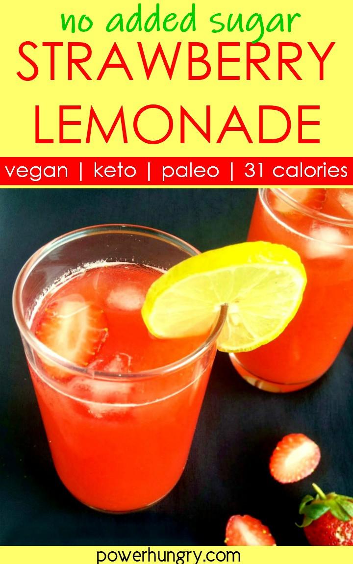 2 glasses of no sugar strawberry lemonade