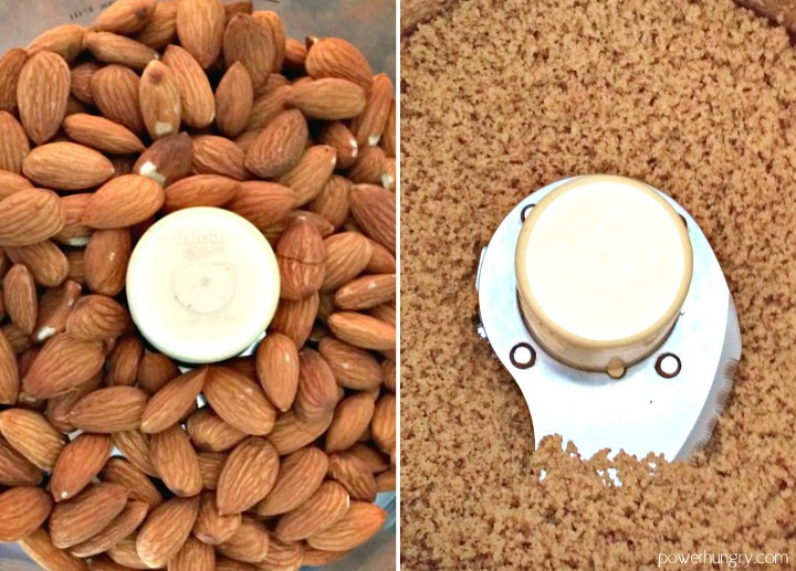 side by side photos of almonds going from whole to finely chopped in a food processor