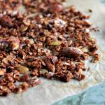 oil-free chocolate granola on a piece of baking parchment