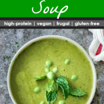 white bowl filled with split and green pea soup