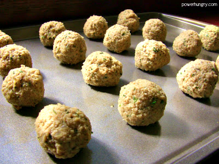 unbakedtvp meatballs on baking sheet
