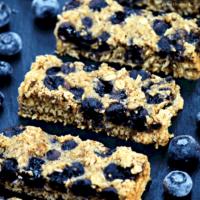 bluberry oat bats on a piece of slate