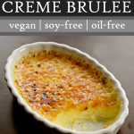 vegan creme brulee made with cashews in a wite scallopped dish