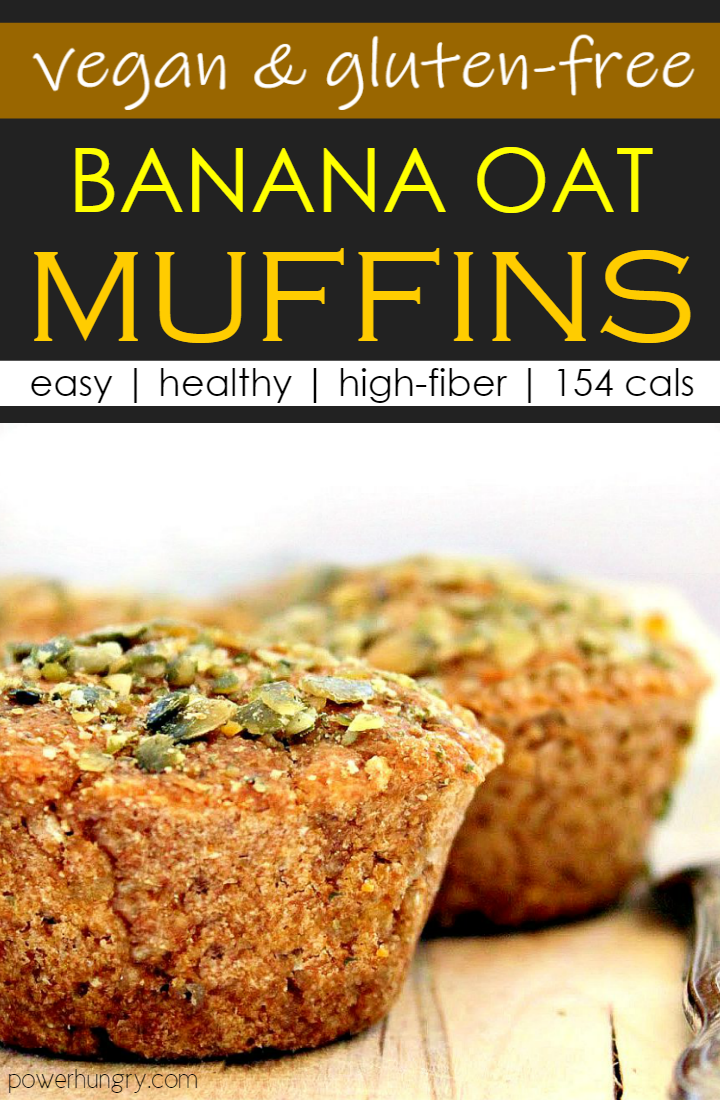 Close up of banana oat muffins, which are both vegan and gluten-free. Muffins are topped with chopped pepitas.
