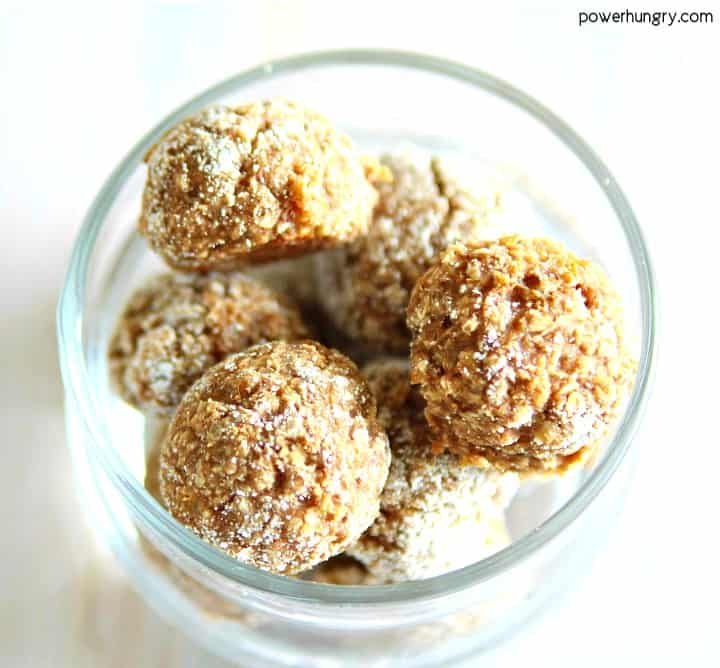 Almond Butter Coconut Flour Energy Balls in a glass dish