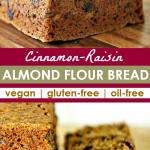 collage of cinnamon raisin almond bread photos