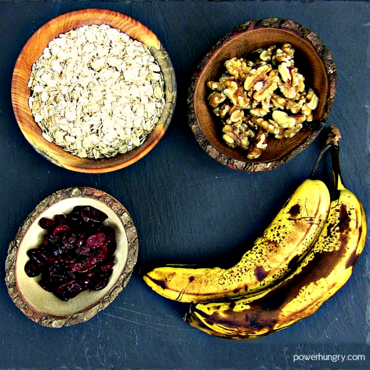 ingredients for banana oat energy cookies on a piece of slate