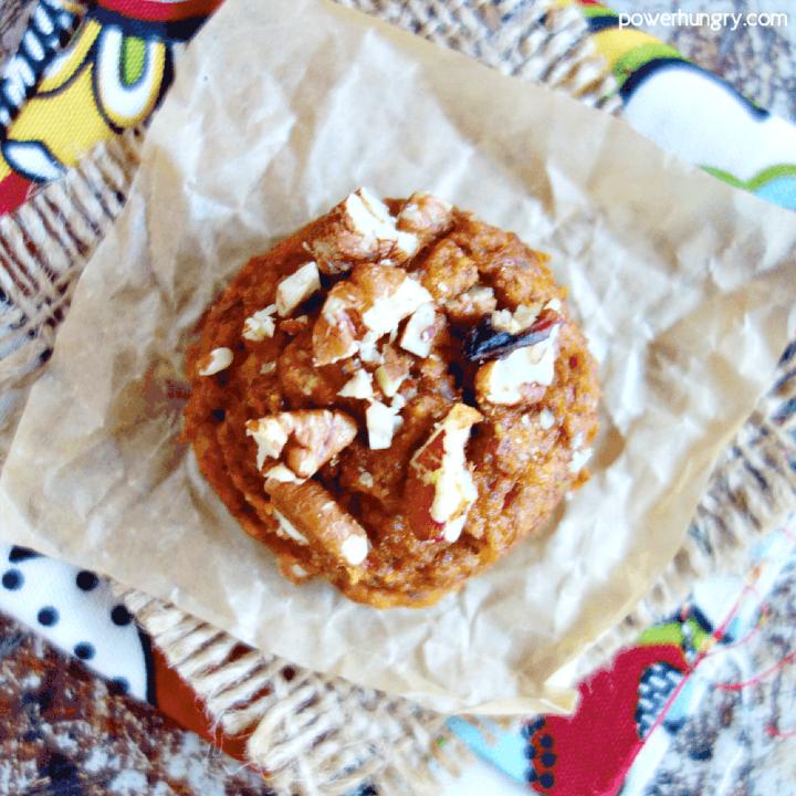 a vegan pumpkin chickpea flour cookie on a piece of parchment