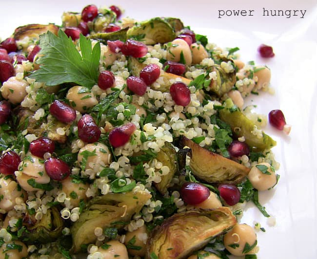 Roasted Brussels Sprouts-Quinoa Salad w/ Chickpeas & Pomegranate ...
