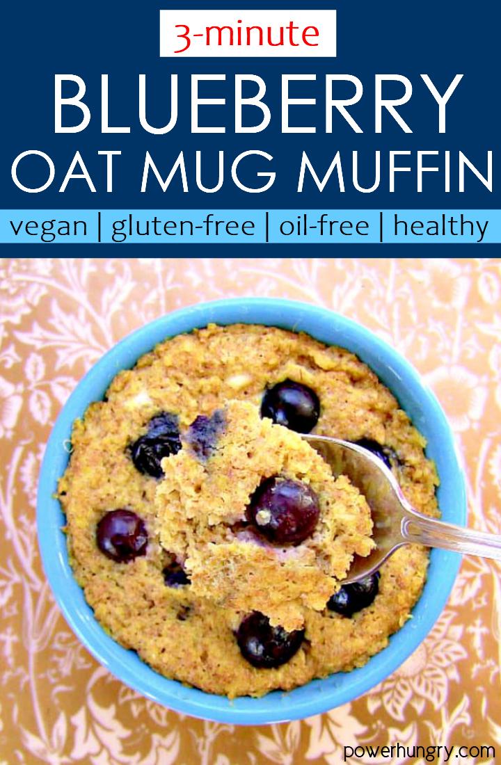 overhead shot of vegan gluten-free blueberry oat mug muffin