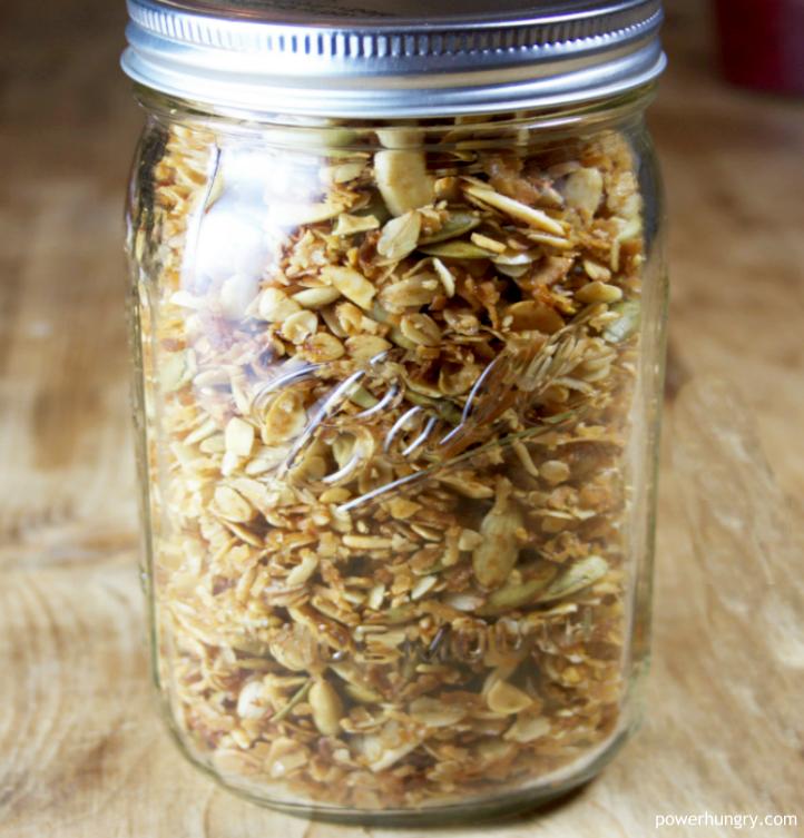 storage jar full of high protein banana bread granola
