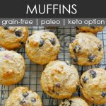 blueberry almond flour muffins on a cooling rack