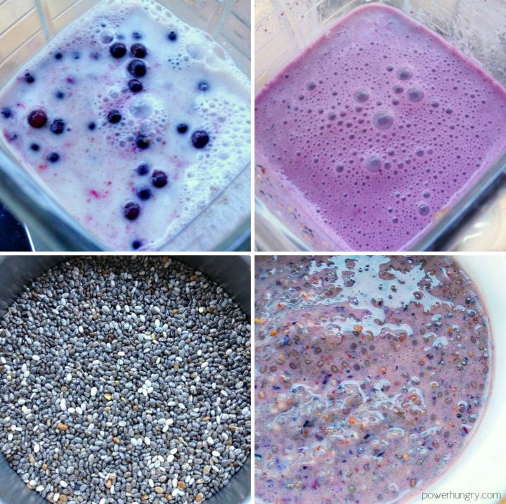 collage of steps to make blueberry chia seed pudding