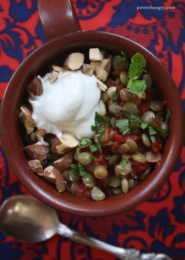 ... Microwave Mug Meal: Spiced Lentils with Yogurt, Almonds and Mint