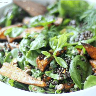 Spinach, Lentil & Roasted Sweet Potato Salad