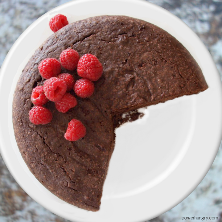 vegan coconut flour chocolate cake on a white plate