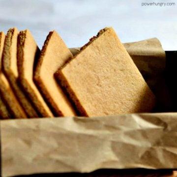 almond flour graham crackers in a metal tin