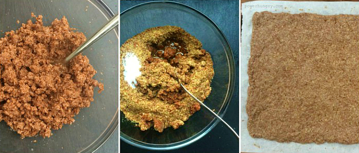 collage of three photos showing how to make teff crackers