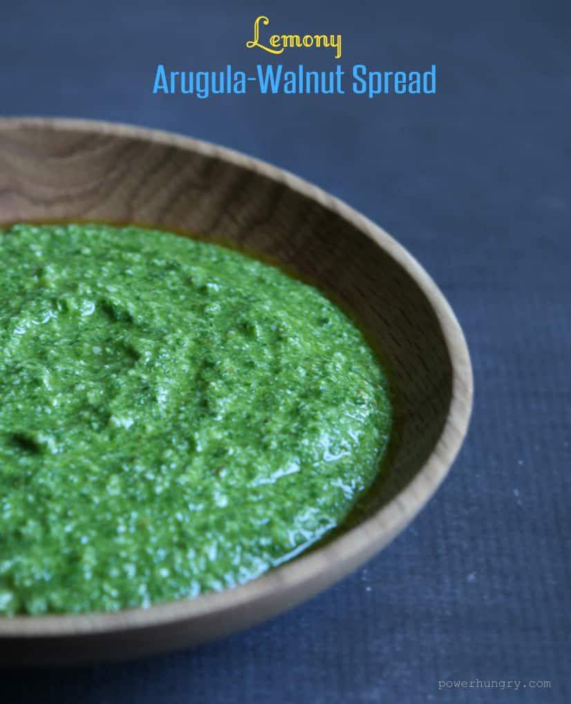 Lemony Arugula-Walnut Spread {gluten-free, vegan, dairy-free}
