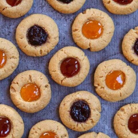 Flourless Thumbprint Cookies {Gluten-Free, Egg-Free, Dairy-Free}