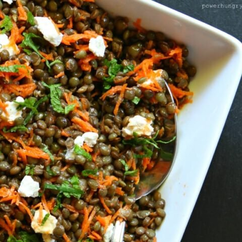 Welsh Lentil & Carrot Salad with Goat Cheese & Mint