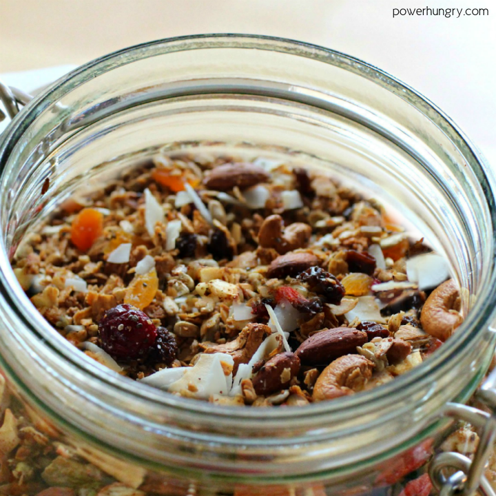 Buckwheat granola in a jar, loaded with dried fruits and nuts