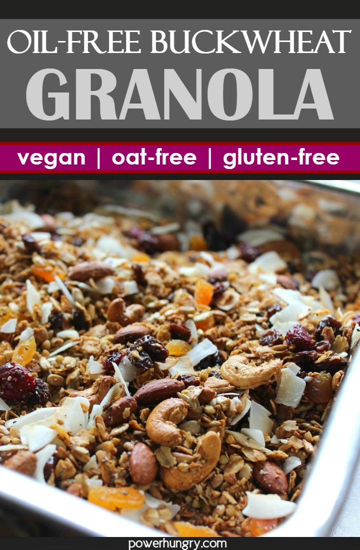 close-up of oil-free, gluten-free, oat-free buckwheat granola on a baking sheet
