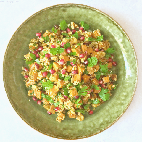 Winter Tabbouleh with Freekeh, Sweet Potatoes & Pomegranate