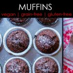 chocolate chickpea flour muffins in a metal tin
