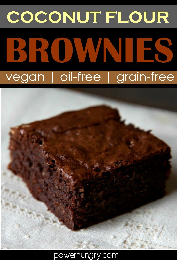 vegan and grain-free coconut flour brownies on a white cloth napkin