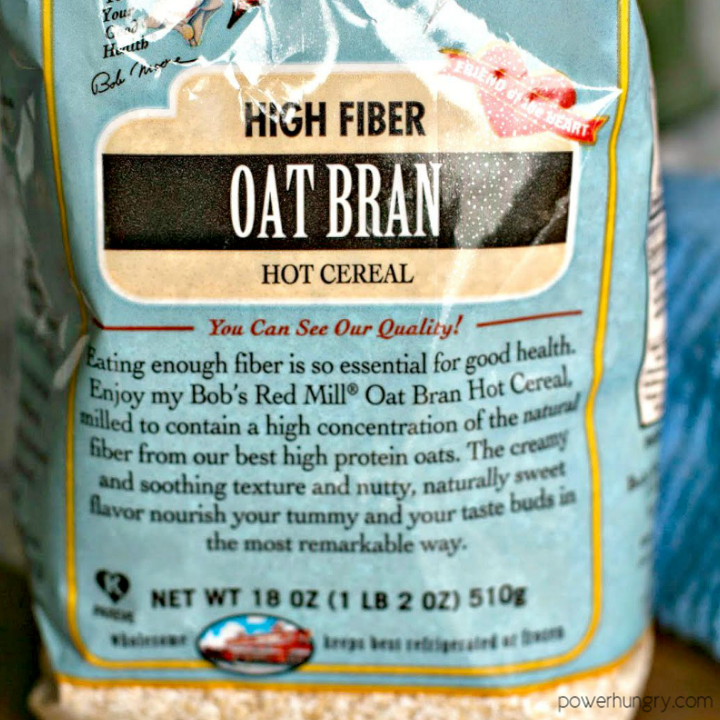 close up of a bag of oat bran cereal