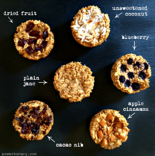 overhead shot of individual baked oatmeal cups on a piece of slate