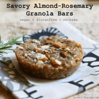 #60: Savory Almond-Rosemary Granola Bars {nobake, vegan, glutenfree}