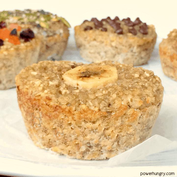 an assortment of vegan banana quinoa muffins on a white plate