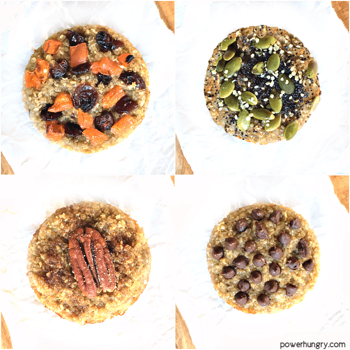 overhead shot of 4 vegan, oil-free banana quinoa muffins with various toppings