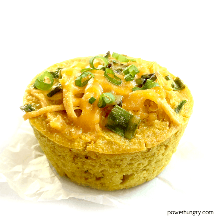 vegan quinoa omelet muffin on a white background