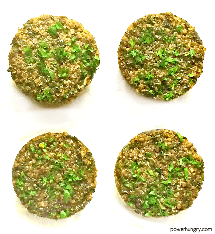 overhead shot of kale mushroom quinoa muffins ona white background