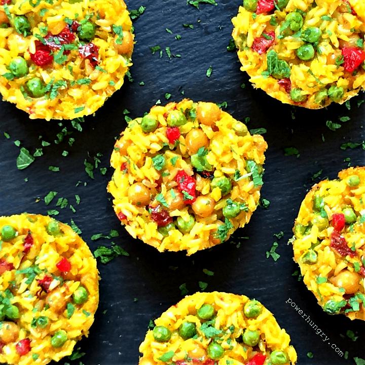 Vegan Paella Minis {gluten-free, made in muffin tin}