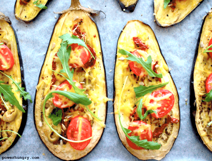 close up of a vegan sheetpan meal of pizza style eggplant slices