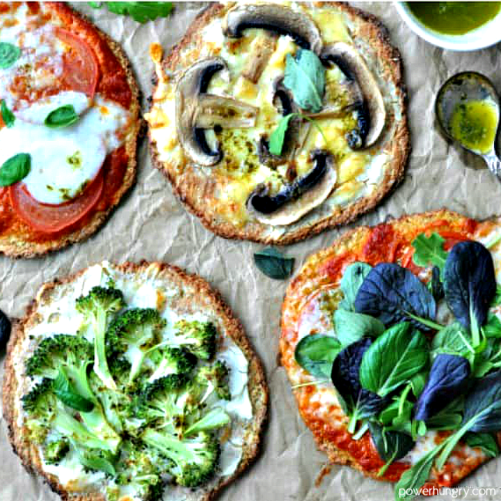 parsnip and chickpea flour pizza crusts with various toppings