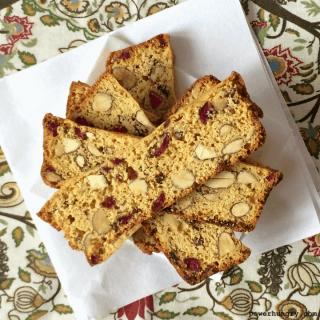 Cranberry-Almond Biscotti Thins {Grain-Free + V}