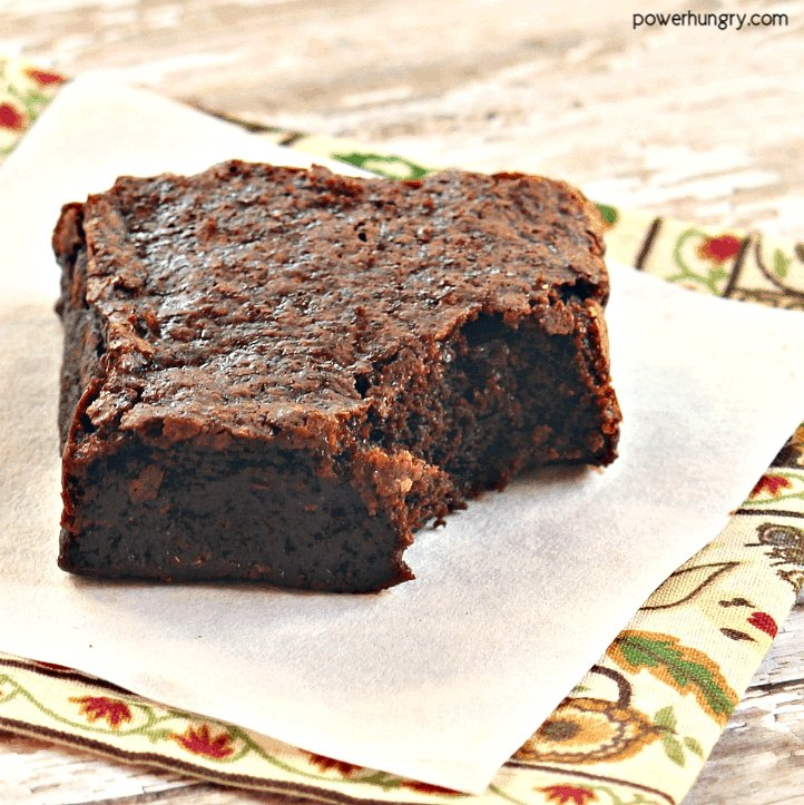 vegan chickpea flour brownie on a colorful napkin